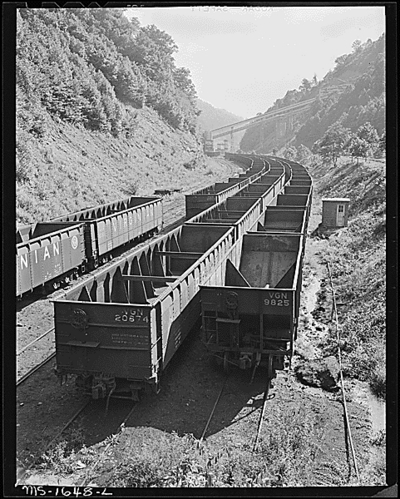 Empty coal cars for loading at tipple.  Kopperston, Wyoming County, W. Va. 8/20/46