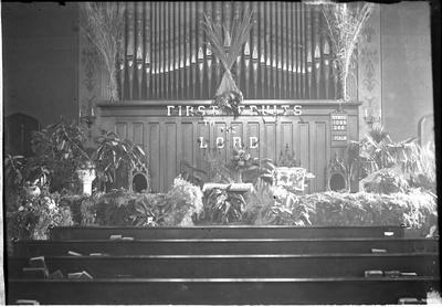 Harvest left on the altar at Centenary Church;                          Centenary // M E Church // Centenary Church // Thanksgiving 1902 handwritten on envelope