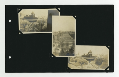(4) photos: Buell Armory and surrounding paths in winter; Barker Hall; Buell Armory in winter; 2 women in