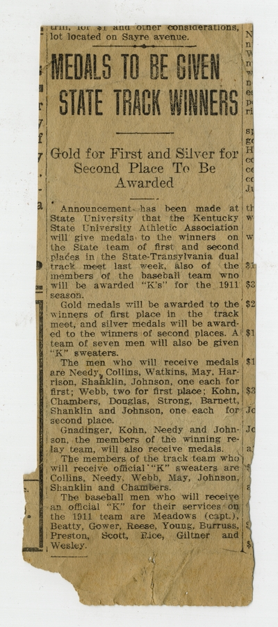 Newspaper clippings about the State University of Kentucky track and field team