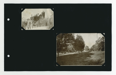 (2) photographic prints: Barker Hall in winter; campus lawn