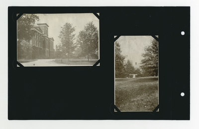 (2) photographic prints: Administration Building; cannon in front lawn