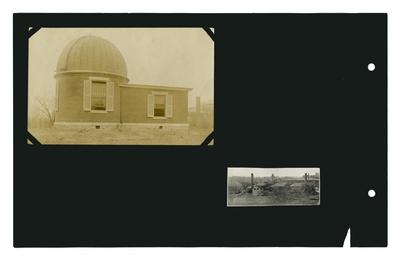 Photo: Telescope; photographic print of campus buildings