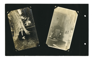 (2) photos: Young man in suit sitting beside tree; interior of a dormitory room shwoing desk and pennants