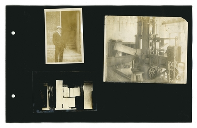 (3) photos: [E.J. Kohn]; machine in a shop; papers posted on a door
