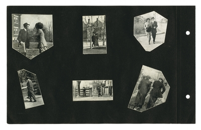 (6) cut-out photographic prints of students on campus
