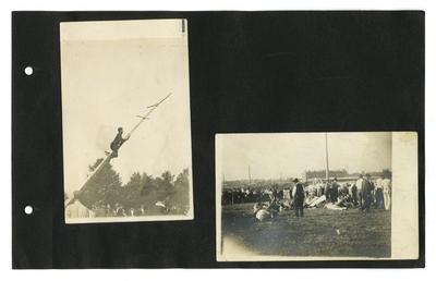 (3) photos: man climbing pole as people watch; women standing on lawn; men wrestling on grass