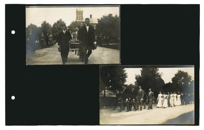 (2) photos: Pall bearers in mock Willis Smith funeral procession; mock Willis Smith funeral procession
