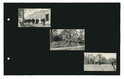 (3) photographic prints: Men in a procession in front of Central Kentucky Tobacco Warehouse Co.; Group of men in a horse-drawn wagon; procession of men on street