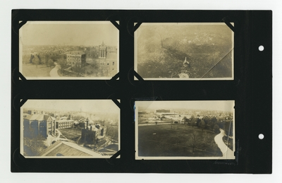 (4) aerial photos: Frazee Hall and Barker Hall; cannon; central campus; wide campus view