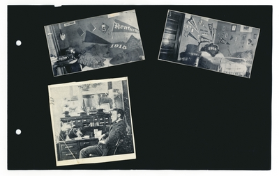 (3) photos: dormitory room with (class of) 1915 memorabilia (2); man seated at desk with several trophies