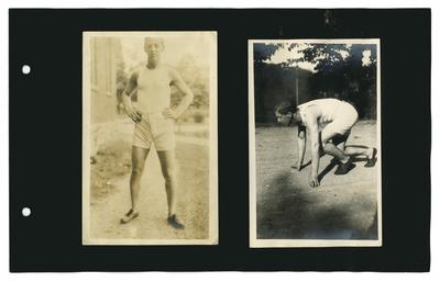 (2) photos: track team member standing; E.J. Kohn kneeling for starts