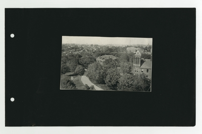 Aerial photograph showing Frazee Hall and Barker Hall in front