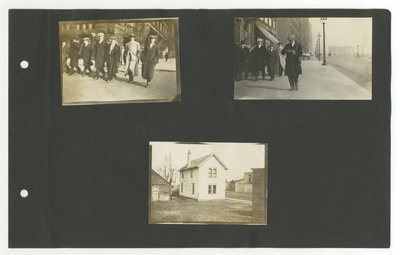 (3) photos: men walking on Chicago streets (2); small house with outbuildings