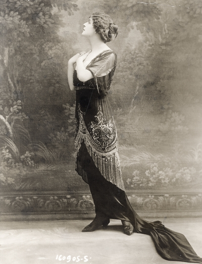 Mlle. Nelly Martyl in a gown of her own creation