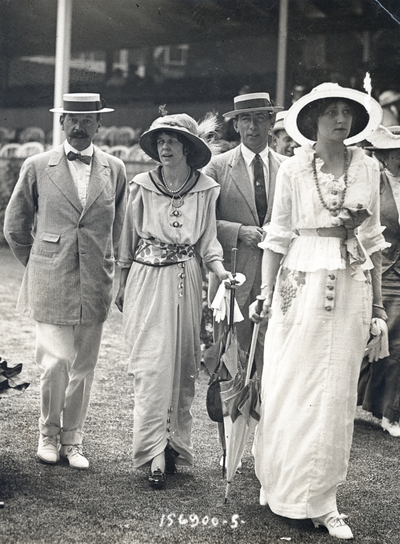 Mrs. A.G. Vandergriff and English friends at a tennis meet in Newport, RI - n.d