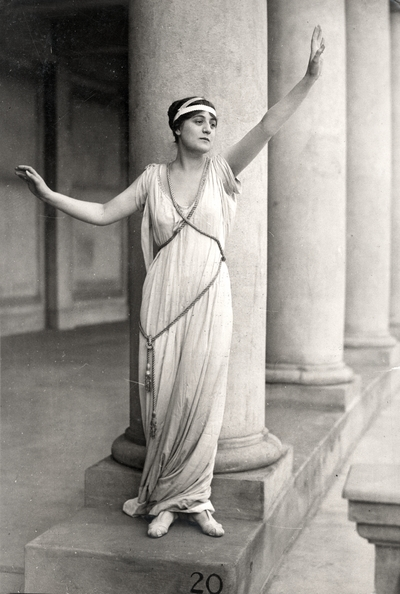 Miss Florence Cassasa in a Greek costume at the Colonnaides, New York University