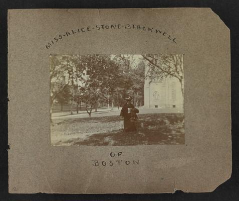Handwritten title on album page: Miss Alice Stone Blackwell of Boston