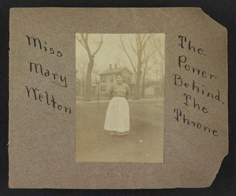 Handwritten title on album page: Miss Mary Melton, The Power Behind the Throne