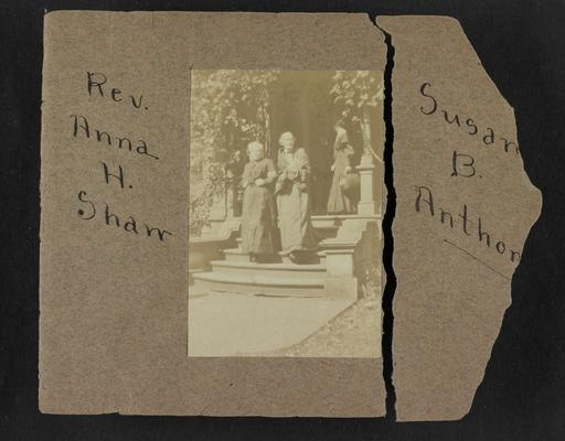 Handwritten title on album page: Rev. Anna H. Shaw and Susan B. Anthony