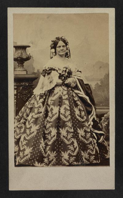 Portrait of Mary J. W. Clay in the presentation dress