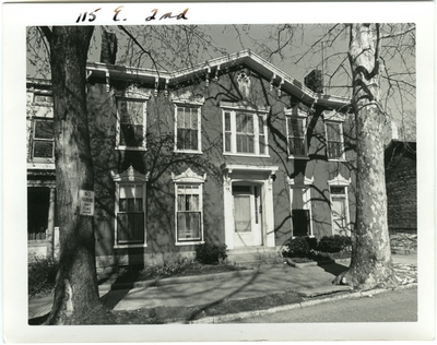 115 East 2nd [Second] street. Built by Matthew Kennedy for Hanna Baxter in 1831, sold to George H. Hancock March 11, 1861