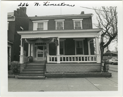 226 North Limestone, front view B&W. Built for Burt T. Bealert before 1859