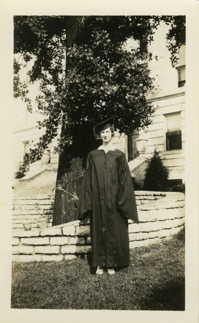 Unidentified woman in cap and gown  UK Commencement 1933