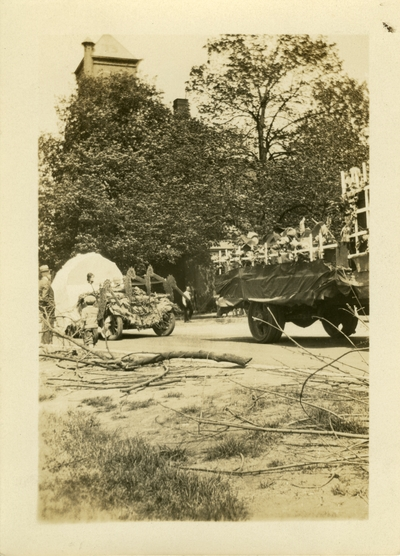 Floats in a parade May 2, 1930