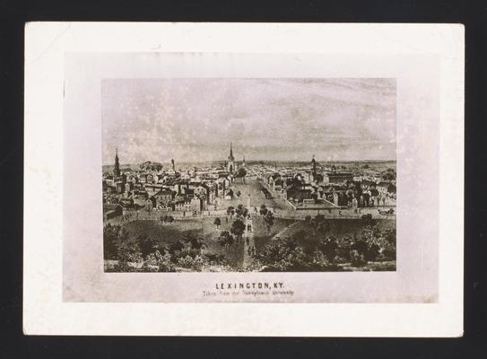 Bird's Eye View of Lexington, Kentucky. Lithograph made from plate in Ballou's Pictoral Drawing Room. Photographic reproduction of Lexington from Morrison College