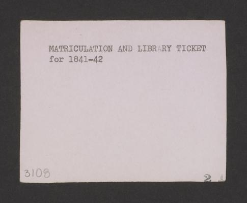 Matriculation and Library ticket of Transylvania University Medical Department