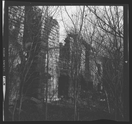 Ruins of the Colonel John Smith House on Elkhorn Creek, 7 miles east of Frankfort, Kentucky in Franklin County, burned down in July 1961