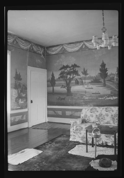 The Parlor at the General James McConnell House, showing murals painted by Alfred Cohen, McCowans Ferry Road, Versailles, Kentucky in Woodford County