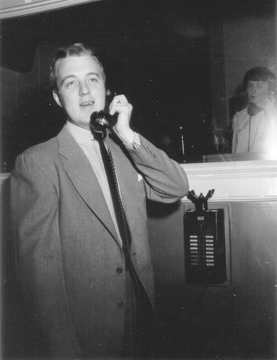 Bob Wilson at telephone in Studio A