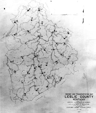 1937 Highway and Transportation Map of Leslie County Kentucky