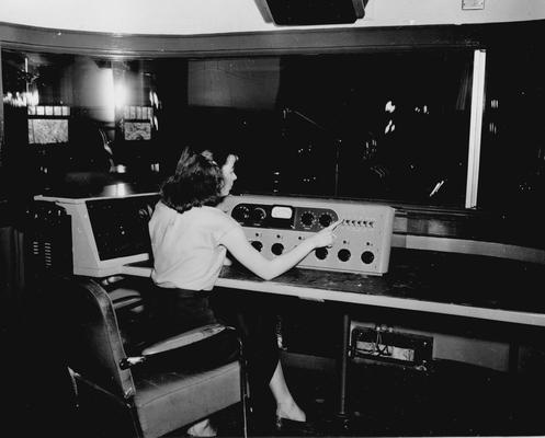 Student at studio control