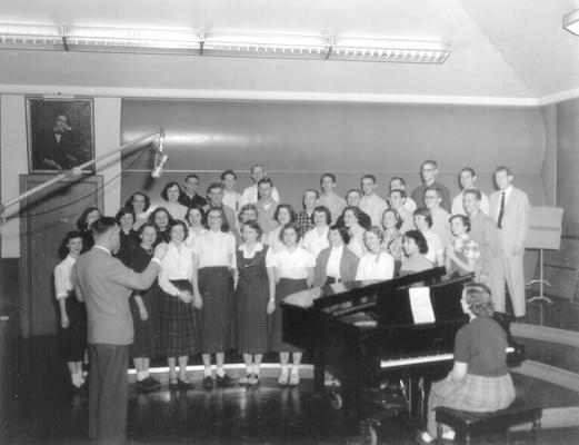 Chorale group in studio