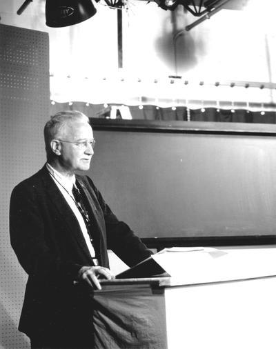Professor George Brody in WLEX studio for televised class