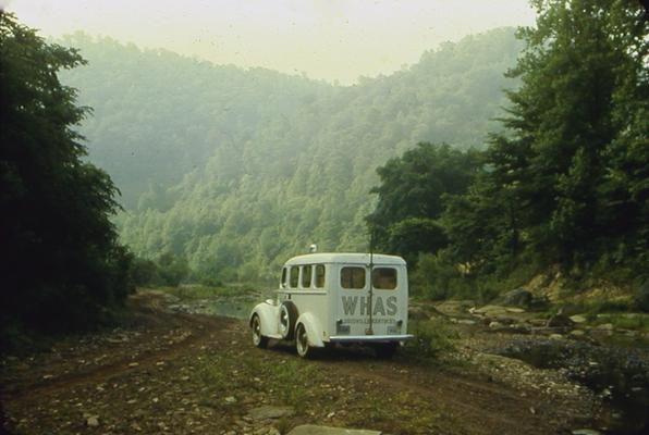 WHAS truck at the base of Eastern Kentucky mountains