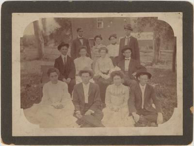 Twelve members of a class (Hazel Green Academy). The names are on the back of the photo
