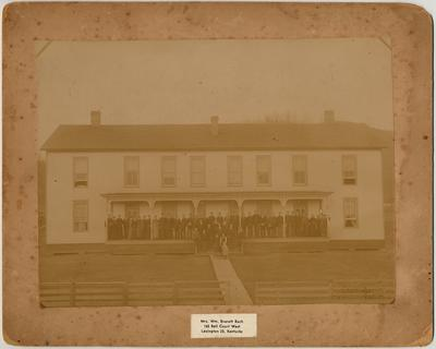 Dormitory at Hazel Green Academy, 1893.                          This is the home that was built after Bill Lusk's house burned, and was the second dormitory for students at H.G.A