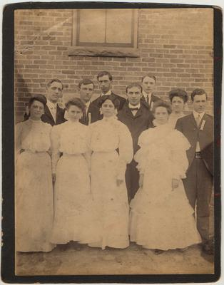 Hazel Green Academy business graduation class of 1905, six men and five women. The names are on the back of the photo