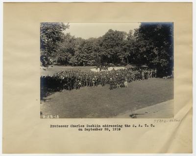 Professor Charles Zueblin addressing the S.A.T.C. on September 28, 1918