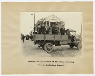 Meeting the new arrivals at the Southern Railway Station, Lexington, Kentucky