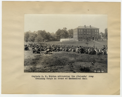 Captain H. N. Royden addressing the Student's Army Training Corps in front of Mechanical Hall