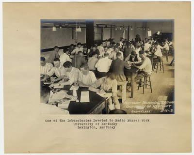One of the laboratories devoted to the Radio Buzzer work/Radio class, University of Kentucky. Lexington, KY