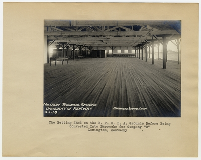 The Betting Shed on the K.T.H.B.A. grounds before being converted into barracks for Company                                  B. Lexington, KY