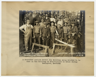 A Carpenter section before the practice building to be used in the training of Electricians in house wiring. Lexington, KY