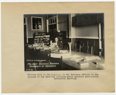 Reading Room of the Y.M.C.A. in the Business Offices on the grounds of the Kentucky Trotting Horse Breeders Association. Lexington, KY