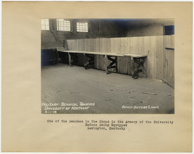 One of the benches in the shops in the Armory of the University of Kentucky before being equipped. Lexington, KY